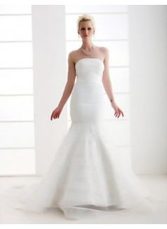 Trumpet/Mermaid Strapless Court Train Organza Satin Wedding Dress