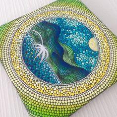 Original Mountains Mandala Painting on Canvas by CreateAndCherish
