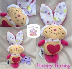 Happy Bunny Made To Order Soft Toy Rabbit Personalised Childrens Rabbit Toy Dolls And Daydreams, Handmade Soft Toys, Rabbit Toys, Small Baby, Baby Toys, Fabric Design, Are You Happy, Bunny, Colours