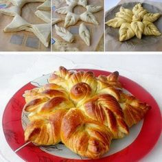 Baking something special for the holiday is fun. This Braided Nutella Christmas Tree Bread is a little twist you can do to add a personal touch to your Bread And Pastries, Bread Recipes, Cooking Recipes, Do It Yourself Food, Bread Art, Bread Shaping, Braided Bread, Pull Apart Bread, Artisan Bread
