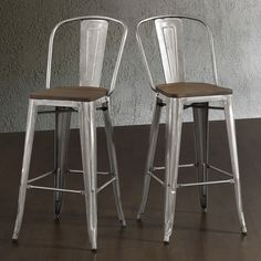 "Tabouret Bistro Wood Seat Gunmetal Finish Bar Stools (Set of 2) - Overstock™ Shopping - Great Deals on Bar Stools - 30"" $169 for two"