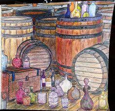 Outlander Coloring Book -- barrels and bottles
