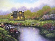 Cottage Landscape Original Oil Painting  by VickieWadeFineArt, $85.00