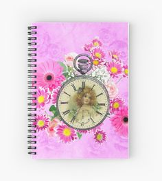 #VintageGirl #ClockWatch #PinkFloral #SpiralNotebook by #MoonDreamsMusic #BackToSchool #SchoolSupplies