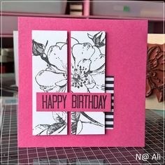 just cards - by N@ Ali: Birthday Cards, Happy Birthday, Rose Stem, Antique Roses, Hero Arts, Flower Cards, Washi, Stamp, Floral