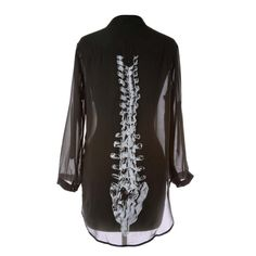 Light black chiffon blouse with spinal cord imprint on the back. Sure it can be a little Hipster, but hey, it's still got it's #Goth girl side to it