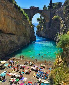 Fiordo di Furore, a piece of paradise on the Amalfi Coast, Italy. Furore is a…