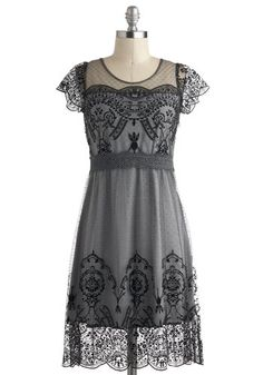 Ohh.  This dress is perfection.  ~ceg Grace Gardens Dress in Slate Grey, #ModCloth