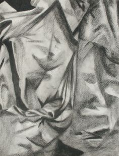 Charcoal Drawing Lessons | Charcoal drawings of sheet-covered boxes and other objects, 1996