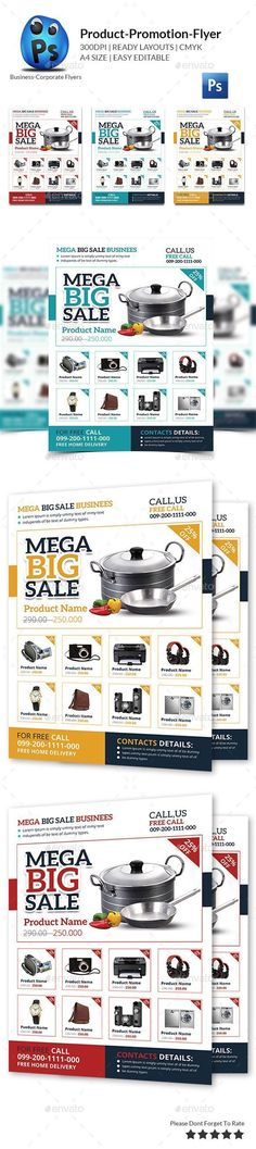 Product Promotion Flyer Print Templates  (CS4, 210x297, ad, advert, advertisement, appliances, best buys, big sale, commerce, deal, discount flyer, electronic flyer, grocery, home hardware, low price, promotion, promotion poster, sale, season, shopping, store, supermarket flyer) #HomeAppliancesBrochure #HomeAppliancesAdvertising #HomeAppliancesAdvertisement