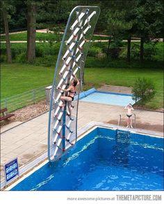 Swimming pool climbing wall