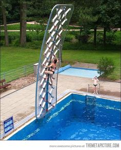 Swimming pool climbing wall... SO COOL!