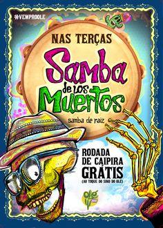 Cartaz Terça de Samba - Restaurant Olé Armazém Mexicano #skull #illustration #color