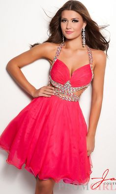Open Back Prom Dress, Jasz Sexy Backless Pink Prom Dress-PromGirl