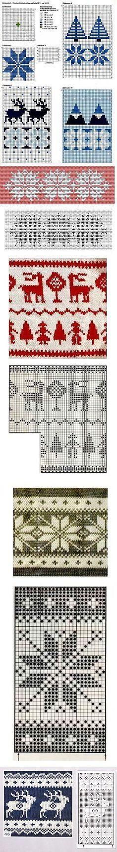 Норвежские узоры схемы   06 - Жаккард,Миссони,Многоцветные.   Постила