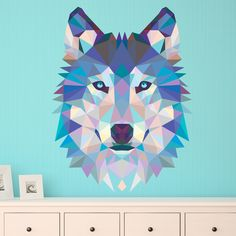 Tête loup origami - Stickers Muraux #origami #loup #sticker #muraux #décoration #WebStickersMuraux