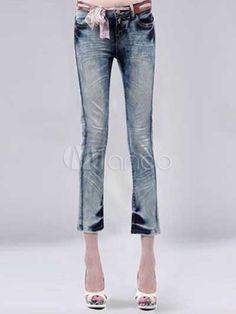 Modern Sexy Casual Light Blue 98% Cotton 2% Spandex Womens Jeans - Milanoo.com