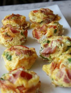 Individual Breakfast Egg Cheese Meat Casseroles in Muffin Tins