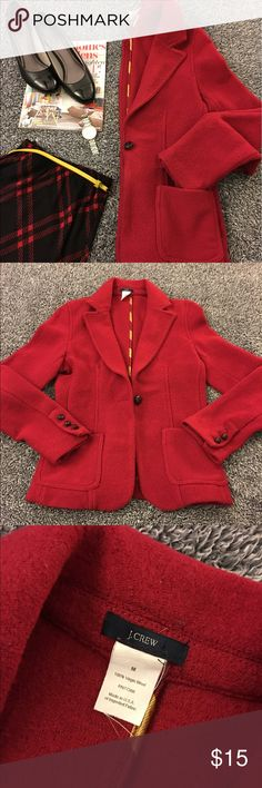 Red, wool blazer by J Crew! Dress it up in style! Adorable red blazer that can be dressed up or worn more casually. SF! Good used shape but does show some signs of love. 1 button on the sleeves is missing & the one on the front is getting loose. However, still super cute. Nothing obviously wrong & has lots of life left to give! See pics for details/condition. Could use a dry cleaning but I'm selling AS IS. Bust is 17 in. flat. Hips are 18.5. Length is 25.5. Sleeve are long/26 in. from…