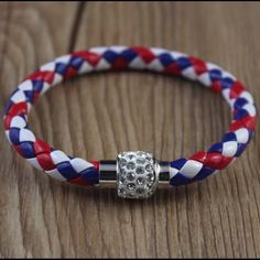 """❤️RED/WHITE/BLUE Leather & Rhinestone Magnetic ❤️RED/WHITE/BLUE Leather & Rhinestone Magnetic Closure Bangle❤️.  High Quality & SPECIAL MADE Wear casual or dressy!!  MATERIAL:  Leather / Magnetic / Alloy / Rhinestone.   LENGTH:  7 1/2"""" + Jewelry Bracelets"""