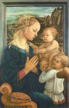 Fra Filippo Lippi. Madonna mit zwei Engeln. 2. Drittel 15. Jh., Holz, 92 × 63 cm. Florenz, Galleria degli Uffizi. Italien. Renaissance. KO 03139