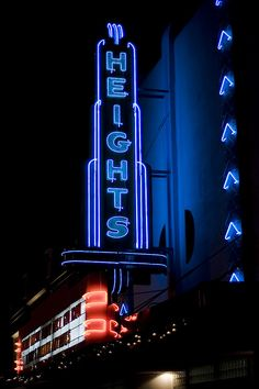 Heights ~ Art Deco Blue Neon Sign