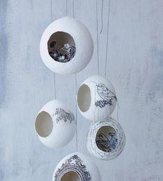 Оригинальные предметы декора в виде гнезд из папье маше на сонове воздушного шарика