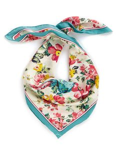 Joules BLOOMFIELD Womens Silk Scarf, Crmsunb. Soft, silk and in hand-drawn floral prints that offer brightness beyond compare.
