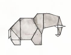 Elephant Origami Print by ZoeundLola on Etsy, €6.00