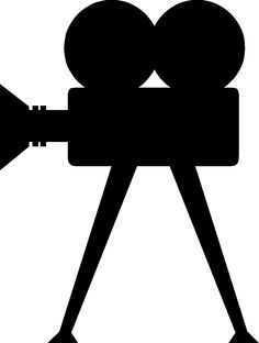 old movie camera silhouette .  I want to make a sign for outdoor movie nights at the farm