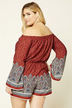 Forever 21+ - A woven romper featuring an off-the-shoulder design, allover floral ornate print, two front slanted pockets, long bell sleeves with crochet trim, an elasticized waist, and crochet hem.