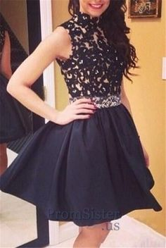 Jeweled Waist Black Lace High Neck Satin Prom Dress