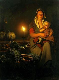 Petrus van Schendel (Terheijden Brussels) , Mother and child at the night-market Pinup Art, Baroque Painting, Indian Art Paintings, Famous Artists Paintings, Academic Art, Dutch Painters, Renaissance Art, Light Painting, Beautiful Paintings