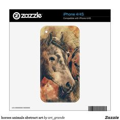 horses animals abstract art skin for iPhone 4S
