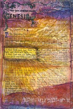 Genesis 1 art journaling in the Bible.  Genesis 1....let there be light.