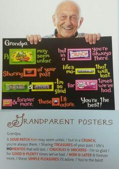 Grandpa gram Grandpa Birthday Gifts, Mom Birthday Crafts, 90th Birthday Parties, Birthday Gift Baskets, Birthday Favors, Dad Birthday, Nana Gifts, Diy Mothers Day Gifts, Grandpa Gifts