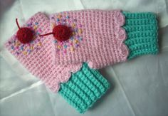 Ready To Ship Turquoise Pink Cupcake Mittens Crochet Fingerless Texting Gloves