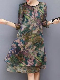 Hot-sale Vintage Floral Printed Sleeves Fake Two Pieces Dresses{ - NewC. - Hot-sale Vintage Floral Printed Sleeves Fake Two Pieces Dresses{ – NewChic Mobile. Work Dresses For Women, Dress Shirts For Women, Clothes For Women, Boho Outfits, Fashion Outfits, Mother Of The Bride Suits, Hijab Fashionista, Two Piece Dress, Sexy Dresses