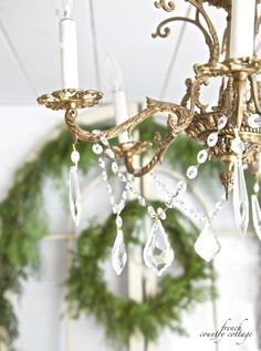 crystal garland draped on a chandelier