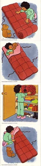 Four sequencing cards out of order depicting a girl with a sleeping bag either just waking up and putting her bag away or just going to bed ...