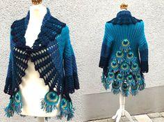 Ravelry: Peacock Feather Jacket pattern by Petra Perle Crochet Video, Thread Crochet, Crochet Crafts, Crochet Stitches, Crochet Hooks, Crochet Projects, Crochet Patterns, Crochet Jacket Pattern, Peacock Crochet