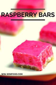 Raspberry Bars | WIN-WINFOOD.com Fruity & fresh raspberry filing on a tender almond banana crust, these Raspberry Bars are a delicious healthy dessert. #cleaneating #vegan  #glutenfree #paleo