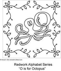 redwork alphabet squares for embroidery o-u, check web site for more