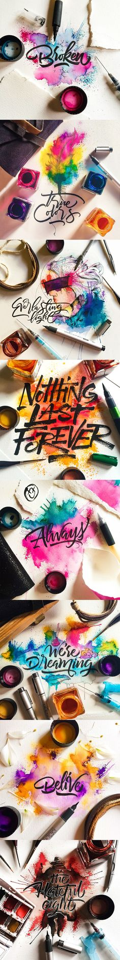 Watercolor / Calligraphy on Student Show – Graffiti World Arte Sketchbook, Calligraphy Art, Grafik Design, Art Plastique, Lettering Design, Brush Lettering, Word Art, Painting & Drawing, Watercolor Art