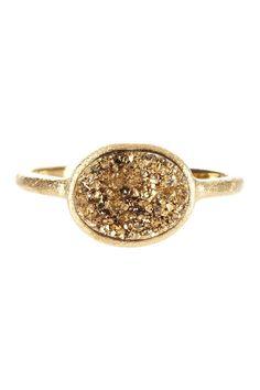 Rivka Friedman 18K Gold Clad East-West Gold Druzy Oval Ring