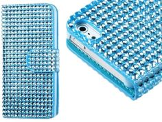 myLife Electric Sky Blue {Fashion Rhinestones Design} Textured Koskin Faux Leather (Card and ID Holder + Magnetic Detachable Closing) Slim W...