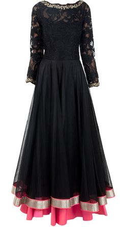 Black floral lace embroidered anarkali by JADE by MONICA AND KARISHMA. Abaya style anarkali desi clothing