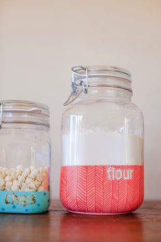 DIY dipped jars with pattern - cute for tiny toys!