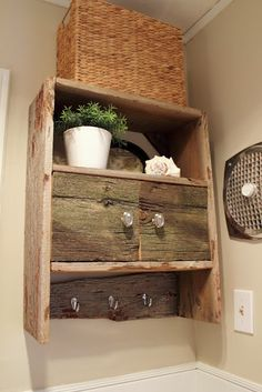 DIY Barnwood Bathroom Cabinet. Reuse hardware from a cheap or falling apart one.