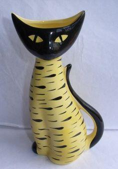 ORIGINAL 1950/60s ARTHUR WOODS CAT VASE YELLOW & BLACK STRIPES VINTAGE RETRO